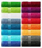 Lashuma toallas 30x50 cm negras, 4 piezas de toallas de invitados serie: Linz,...