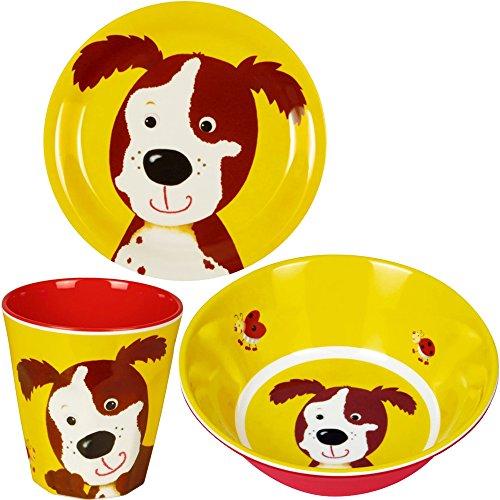 Spiegelburg Freche Rasselbande 3er Set Hund 13223 13228 14008 Melamin-Becher + Melamin-Teller + Melamin-Schale