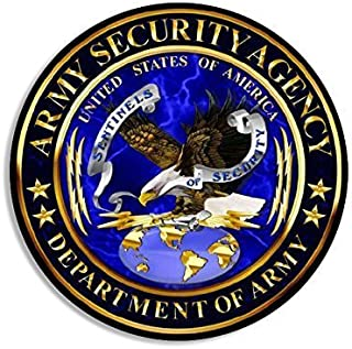 GHaynes Distributing ROUND Army Security Agency ASA Seal Sticker Decal (signal intelligence decal logo) Size: 4 x 4 inch