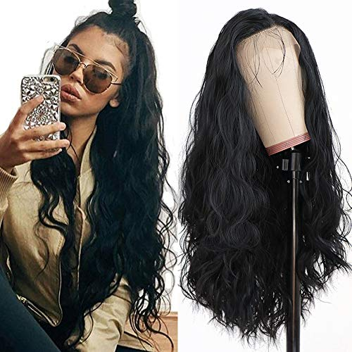 Maycaur Long Black Hair Lace Wigs Loose Wavy Hair Glueless Heat Resistant Synthetic Lace Front Wigs for Black Women