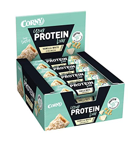 Corny Your Protein Vanilla White Crunch, Eiweiß-Riegel mit 30{3a6bc90af10cfe862e05432c808e4adaba922087ae4c4c269eb96619f0981017} Protein, ohne Zuckerzusatz, 12er Pack (12 x 45g)