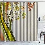 DYCBNESS Duschvorhang,Distel Natur abstrakt stilisierte Baumblumen & Schmetterling mit Wellenlinien gepunktet,Langhaltig Hochwertig Bad Vorhang Wasserdichtes Design,mit Haken 180x180cm