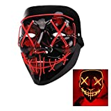 Halloween mask,Halloween party carnival role-playing ghost face mask, 3 Modes Glow Slow Flash, Medium Flash, Fast Flash,Carnival Masquerade Light Induction Role-Playing Mask (red)