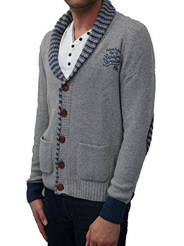 PETROL INDUSTRIES-Gilet Bouton Knit142-manches Longues-Homme-Couleur: Light Grey-Taille: L