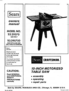Craftsman 113.29570 113.295750 Table Saw Owners Instruction Manual Reprint [Plastic Comb] [Jan 01, 1900]