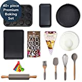 40+ Piece Baking Set Incl. Utensils, Cupcake/Baking Tray, Cookie Cutters, Rolling Pin, Spring Form, Loaf Pan, Measuring Spoons, Mixing Bowl and More (Standard)