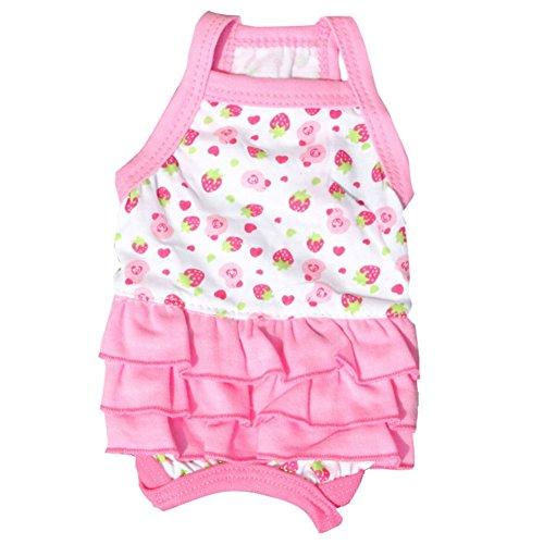 Stock Show Süßes rosa Kleid mit Erdbeer-Aufdruck und 3-stöckigen Rüschen, Plissee-Rock, Welpen, weiche Baumwolle, Sommerkleid für kleine Hunde und Welpen