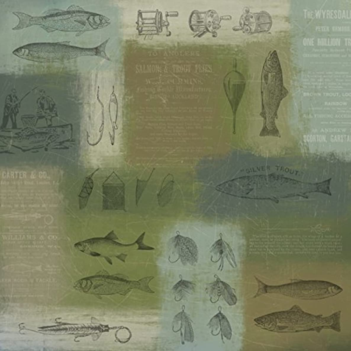 KAREN FOSTER 12 x 12-Inch Scrapbook Paper 25 Sheets, Fish and Tackle,