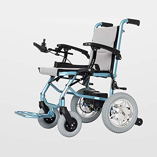 Mechanical Parts Lightweight Foldable Electric Wheelchair Intelligent Safe Durable Power Wheelchair Lithium battery brushless motor for Elderly disabled Load 100kg electric wheelchair (Color : Dual