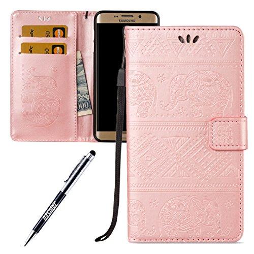 Kompatibel mit Galaxy S6 Edge Plus Hülle,Galaxy S6 Edge Plus Schutzhülle,JAWSEU Elefant Muster Lederhülle Flip Case Handyhülle Brieftasche Tasche Schutzhülle für Galaxy S6 Edge Plus Elefant,Rose Gold