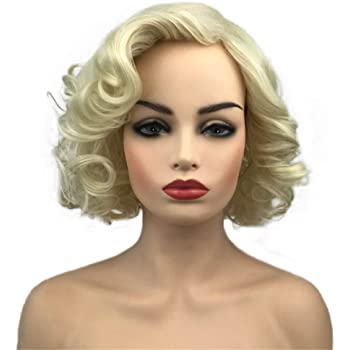 Aimole Women Short Curly Wig Synthetic Daily Hair Heat Resistant Cosplay Wig(613E)