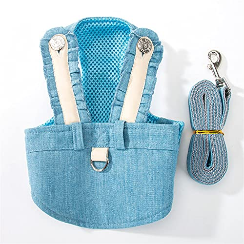 LUBINGT Dog Vest Rope Rabbit Small Dogs Harness Leash Rope Set Puppy Cat Dog No Pull Vest Harnesses Cute Outdoor Soft Breathable Lining Dog Vest Lead (Color : Blue, Size : S)