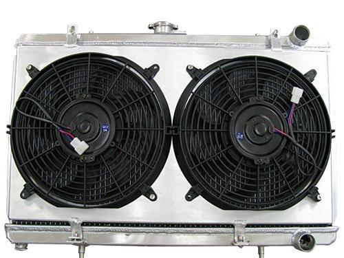 CXRacing Aluminum Radiator + Shroud + Two Slim 12' Fans For 89-94 Nissan 240SX S13 with KA24 CA18DET RB20 Engine Swap