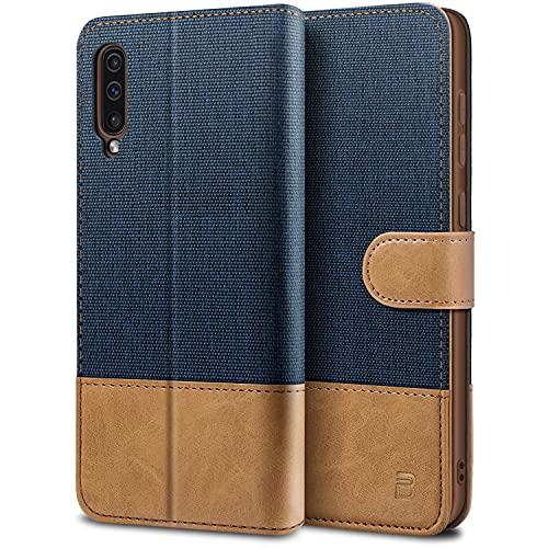 BEZ Handyhülle für Samsung Galaxy A50 Hülle, A30s Hülle, Tasche Kompatibel für Samsung Galaxy A50/ A30s, Schutzhüllen aus Klappetui mit Kreditkartenhaltern, Ständer, Magnetverschluss, Blaue Marine