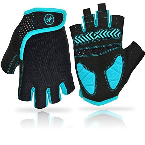 REETEE Fahrradhandschuhe Halbfinger Radsport Handschuhe Atmungsaktiv Anti-Rutsch Radhandschuhe Herren Damen Sport Handschuhe für Radfahren, Wandern und Outdoor Sportarten (Blau, M)
