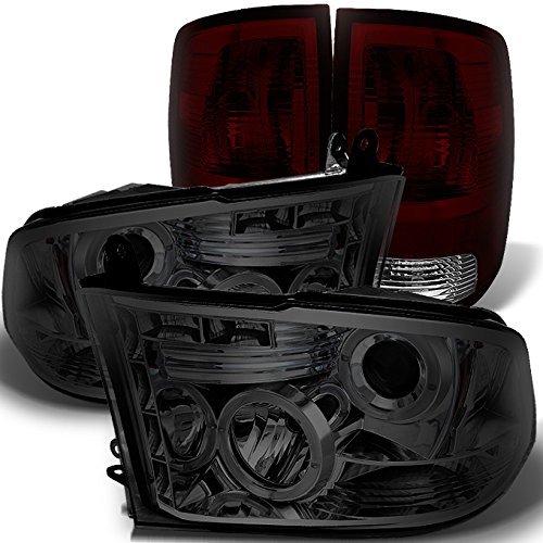 For Dodge Ram 2009-2018 1500 | 10-18 2500/3500 Smoked Halo Projector LED Headlights + Dark Red Tail Light Combo