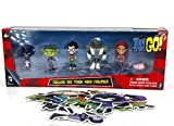 Teen Titans Go! Action Figure Set Robin, Starfire, Beast Boy, Cyborg, Silkie & Raven + 10 Stickers & Gift Bag!