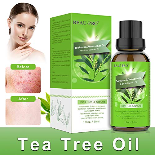 Teebaumöl Naturrein 100% - Teebaum öl Essential Tea Tree Oil für Shampoo Gesicht - Akne Öl, Acne Serum zum Unreine Haut, Anti Pickel, Akne, Diffuser Massage Spa Tea Tree Oil -30ml