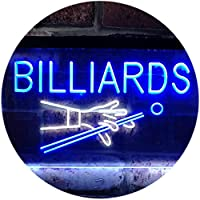 Billiards Pool Room Snooker Plaque Dual Color LED看板 ネオンプレート サイン 標識 白色 + 青色 300 x 210mm st6s32-i0309-wb