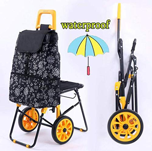 Folding Shopping Trolley with Seat for Disabled 2 Wheel Shopping Trolley with Insulated Bag,Foldable Compact Grocery Stair Climbing Cart,Portable