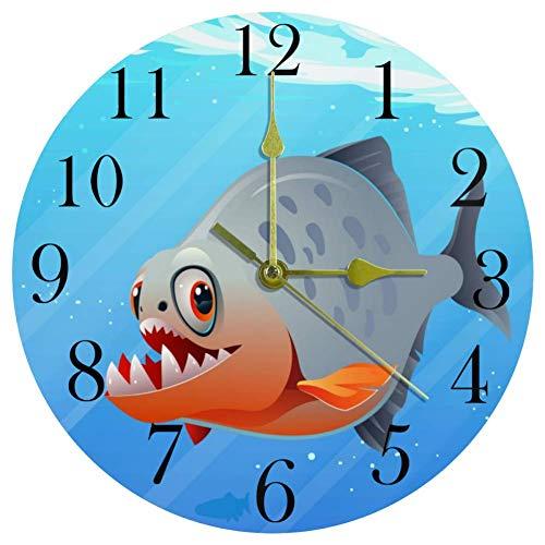TIKISMILE Unterwasser-Wanduhr, Piranha-Fisch, leise, nicht tickend, Acryl, dekorative runde Uhr für Büro, Schule, Wohnzimmer, Schlafzimmer, Heimdekoration