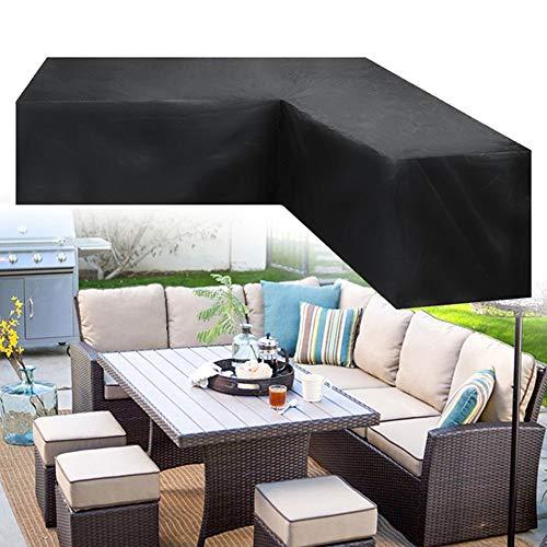 Copertura per divano da giardino, copertura per mobili da giardino, a forma di L, copertura per divano ad angolo, tavolo, panchina, divano, protezione per esterni,colore nero (214,9 x 214,9 x 87,1 cm)