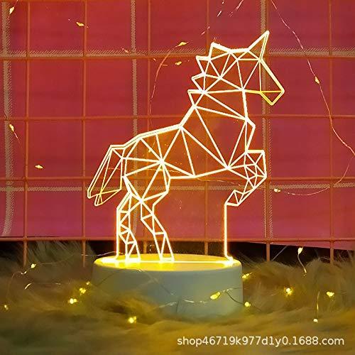 Decoración de luz 3D luz de Noche niña corazón Dormitorio Estudiante Regalo Creativo pequeño Interruptor de botón de lámpara de Mesa (Monocromo)