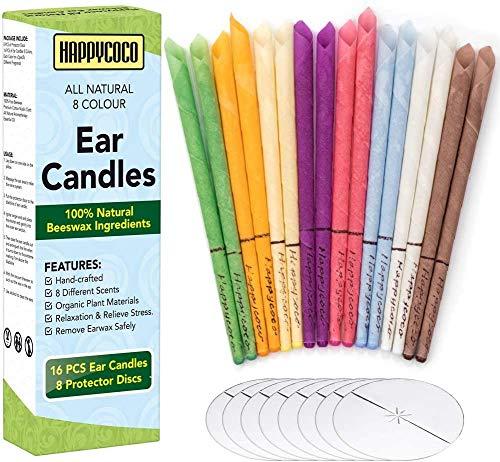 Happycoco Velas para oídos naturales Conos de vela de cera de abejas-16 piezas (8 colores),Cilindros 100% orgánicos, no tóxicos, fragancia, cono hueco, velas con 8 discos protectores