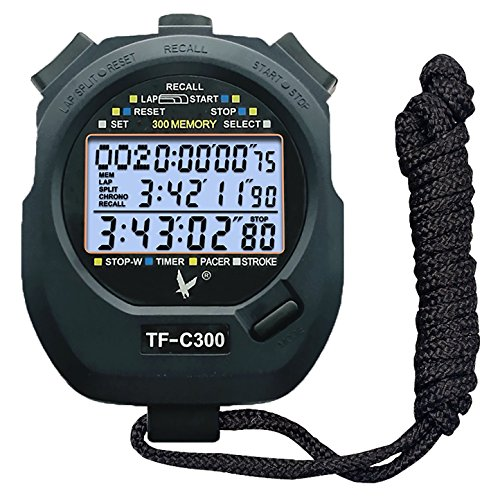 CALESI Cronómetro de Tres Filas de 300 memorias Lap Digital Profesional de Mano LCD Deportes (300 memorias)