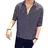 [Agree With(アグリーウィズ)] カジュアルシャツ トップス ストライプ ビッグシルエット ハーフスリーブ シャツジャケット フォーマル おしゃれシャツ シンプル 大きいサイズ おもしろ 赤 御洒落 かっこいいシャツ 派手 オシャレ 安い かっこいい ファッション グリーン 柄シャツ ゆったり カッコイイ スリム アウター 春 夏 個性的 秋冬 バランス メンズ (XL ブラック②)