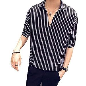[Agree With(アグリーウィズ)] カジュアルシャツ トップス ストライプ ビッグシルエット ハーフスリーブ シャツジャケット フォーマル おしゃれシャツ 大きいサイズ 春シャツ 男性用 大きいサイズシャツ スーツ あたたかい カットソー オシャレ お洒落 おもしろシャツ 暖かい ワイシャツ ジャケット トレンチコート 襟付き 面白い 夏 インナーカットソー メンズ (L ブラック②)