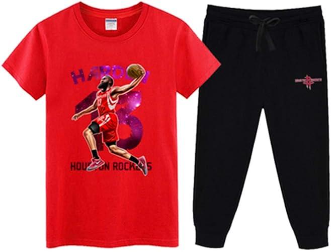 QAZ NBA T-Shirt Maillot NBA Fan Ensemble Houston Rockets T-Shirt à Manches Courtes Sweat-Shirt pour Hommes James Harden   13 Basket-Ball Demi-Manche Sport Set,rouge1-M