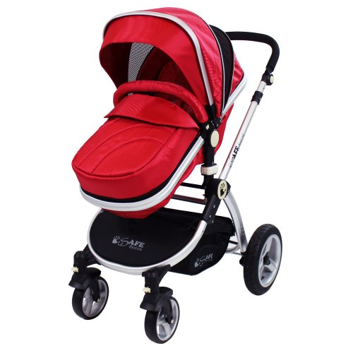 iSafe 2 in 1 Baby Pram System Complete (Red)