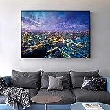 GJQFJBS Drawing Like Seascape Canvas Print Art Living Room Poster de Pared y velero A2 50x70cm