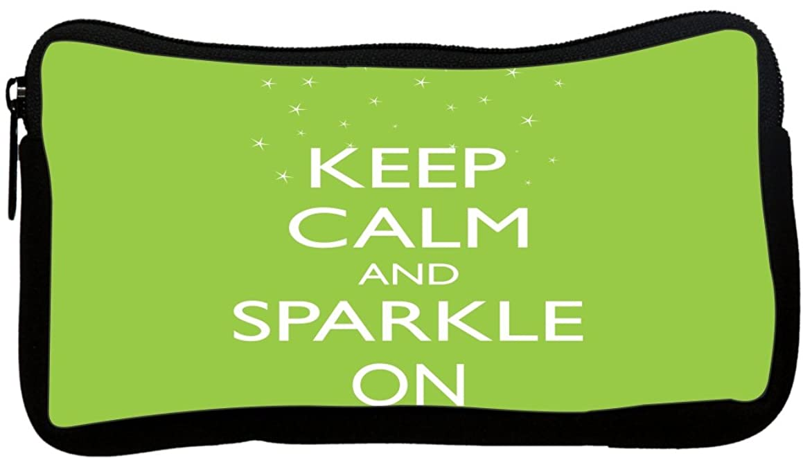 Rikki Knight Keep Calm and Sparkle On Lime Green Color Design Neoprene Pencil Case (pc896)