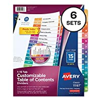 Avery Customizable Table of Contents Ready Index Multicolor Dividers with Printable Section Titles ,DIVIDER,INDEX 15 TAB,AST