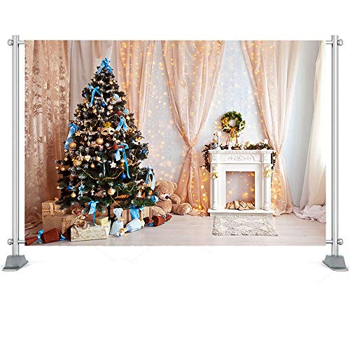 Photography Backdrop Christmas Trees Window Wreath Winter Snow Background Wood House Photocall Photoshoot Prop A4 5x3ft/1.5x1m