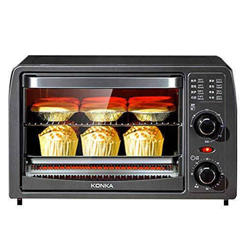 Toaster oven 13L Mini Four Compact Quartz Tube De Chauffage Cuisson/Fruits Secs/Barbecue 30 ° C Fermentation À Basse Température Convient pour 2-4 Personnes 1050W Gris Foncé