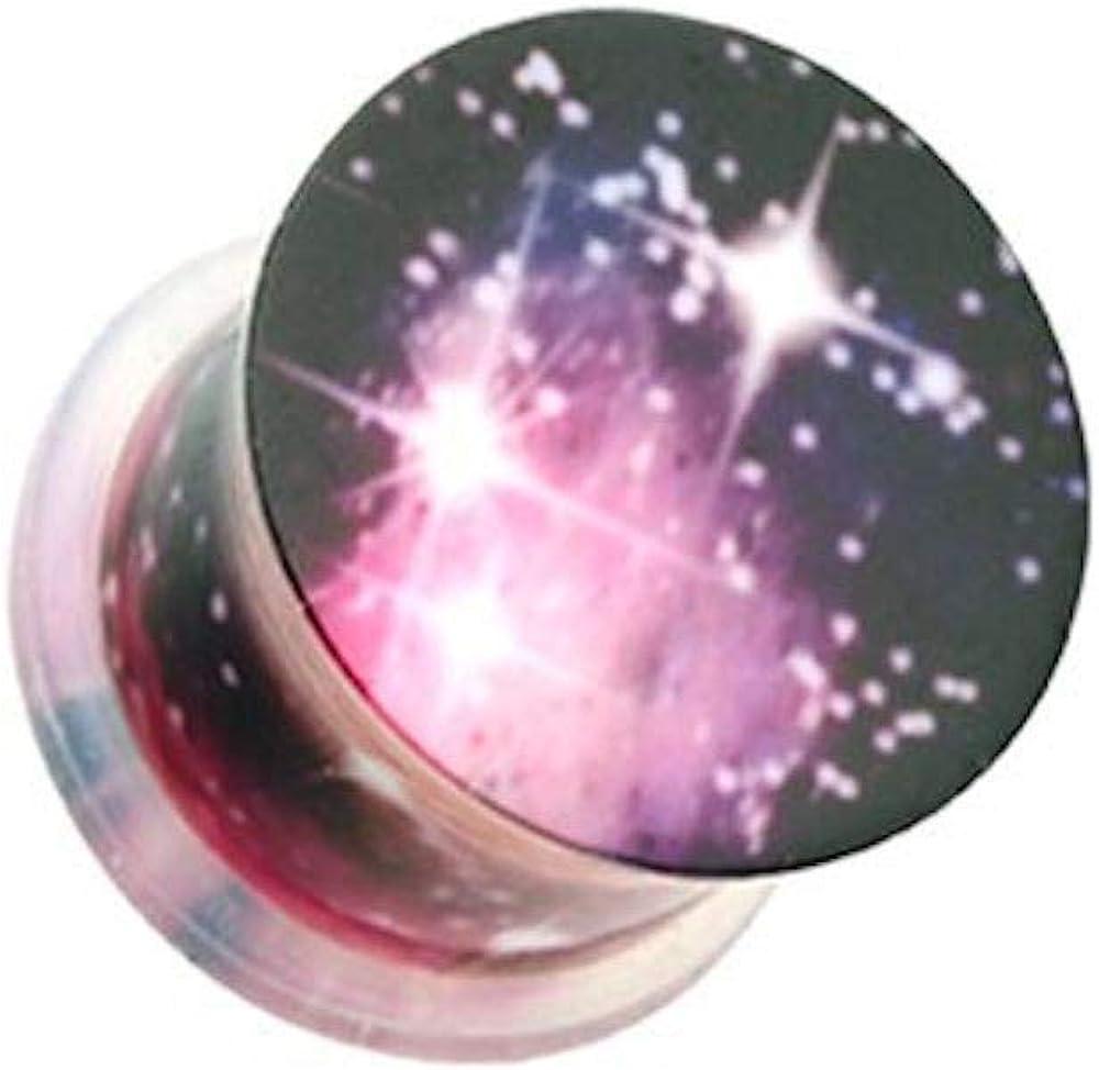 Covet Jewelry Dark Galaxy Acrylic Single Flared Ear Gauge Plug