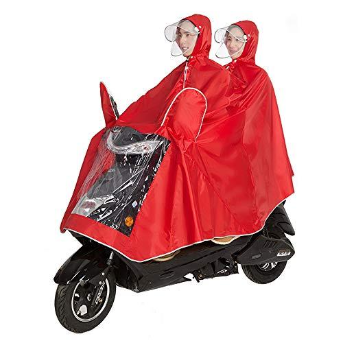 QARYYQ Fietsjas Unisex Tandem Fiets, Ebike, Motorfiets, Scooter Poncho Regenjas Sjaal Waterdichte Regen Poncho (Kleur: Rood, Maat : XXXL)