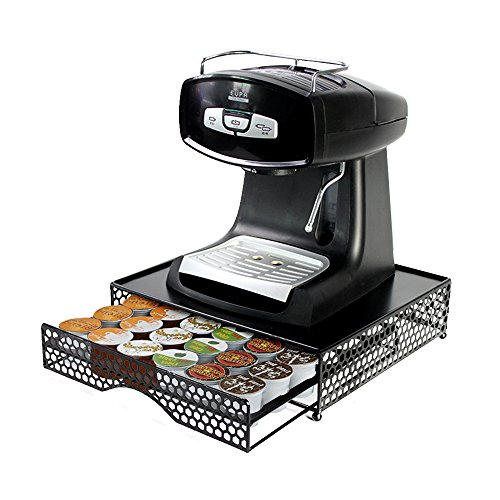PAO MOTORING K-Cup Coffee Capsule Display Stand and Storage Drawer for 36 Pods (Black frame),Kitchen Coffee Machine Pod Holder