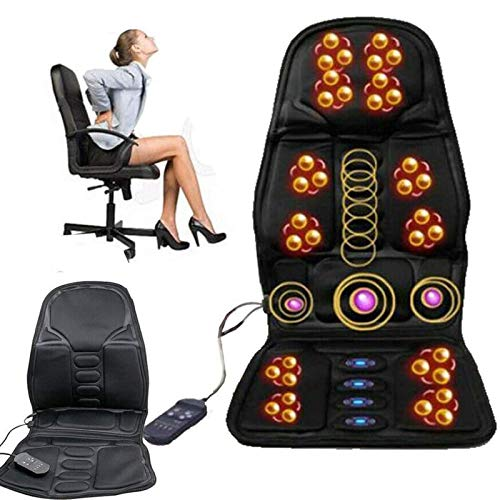 Massage Seat Cushion Electric Back Massager with Heat,8 Mode Function,15-30min Timer, Vibration Massage Motors, Neck Lumbar Massager for Pain Relief