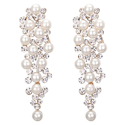 Clearine Women's Wedding Bridal Crystal Ivory Color Simulated Pearl Multi Beaded Cluster Chandelier Dangle Earrings Clear Gold-Tone