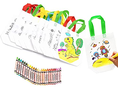 Bolsas para Colorear 12 Pcs (Diferentes Diseño) con 24 Pasteles de Aceite cumpleaños comuniones colegios guarderías y Celebraciones