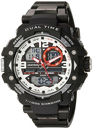 Armitron 20/5062 Sportuhr für Männer, digital, Chronograph, Armband aus Harz schwarz / rot