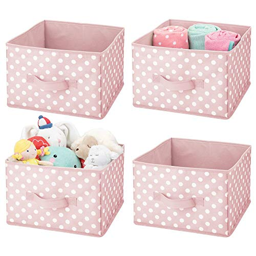mDesign Soft Fabric Closet Storage Organizer Holder Box Bin - Attached Handle Open Top for ChildKids Bedroom Nursery Toy Room - Fun Polka Dot Print - Medium 4 Pack - Pink with White Dots