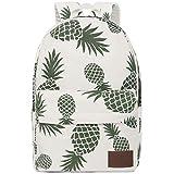 FITMYFAVO Backpack for Teen Girls Canvas School Backpack Cute Bookbag Daypack Travel (Pineapple)