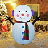 GOOSH 4Foot High Christmas Inflatable Snowman Yard Decoration, Indoor Outdoor Garden Inflatable Christmas Decoration.