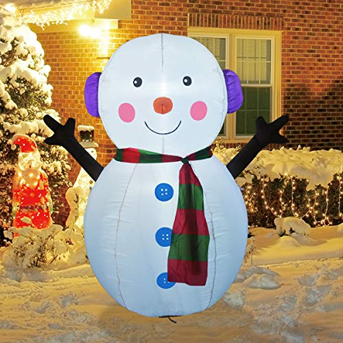 GOOSH 4 FT Christmas Inflatable Outdoor Cute Snowman, Blow Up Yard Decoration Clearance with LED Lights Built-in for Holiday/Party/Xmas/Yard/Garden