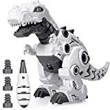 BEESTECH LED Walking Robot Dinosaur Toy, Take Apart Dinosaur Toys for 3, 4,5,6 Year Old Boys with...